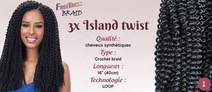 "FREETRESS natte ISLAND TWIST 16"""