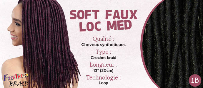 FREETRESS, natte SOFT FAUX LOC MEDIUM