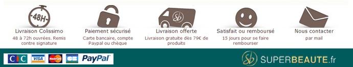 Livraison en 24 a 72h - Satisfaite ou remboursee - Livraison gratuite a partir de 79 euros d'achat
