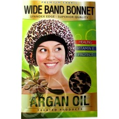 "Bonnet nuit satin LEOPARD à l'ARGAN ""Wide band"" DRE 5073L"