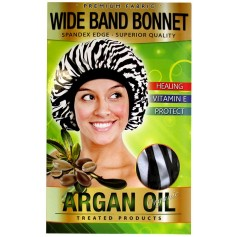 "Bonnet nuit satin ZEBRE à l'ARGAN ""Wide band"" DRE 5073Z"
