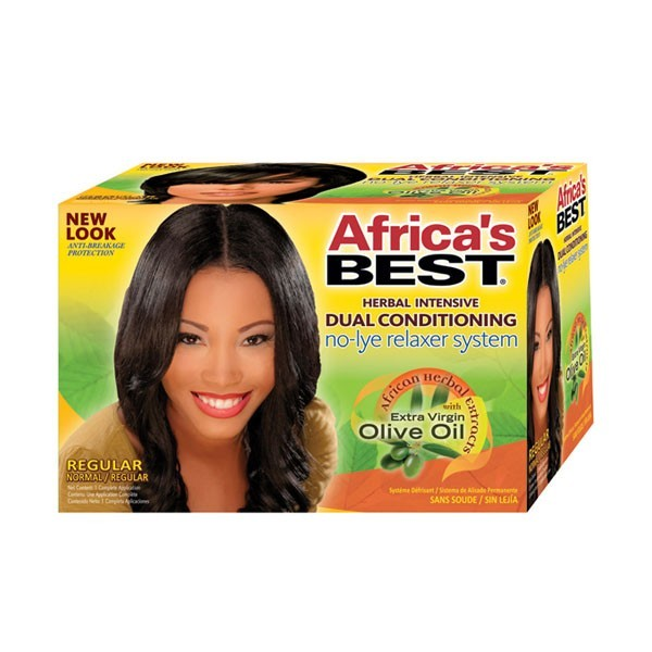 AFRICA'S BEST Système défrisant OLIVE cheveux normaux (No-Lye Relaxer)