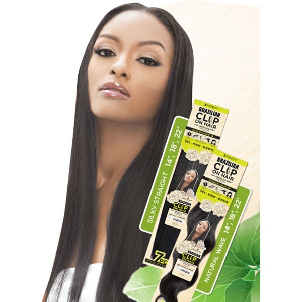 "HARLEM tissage extension à clips CLIP ON HAIR SILKY STRAIGHT 18"" (Brazilian)"