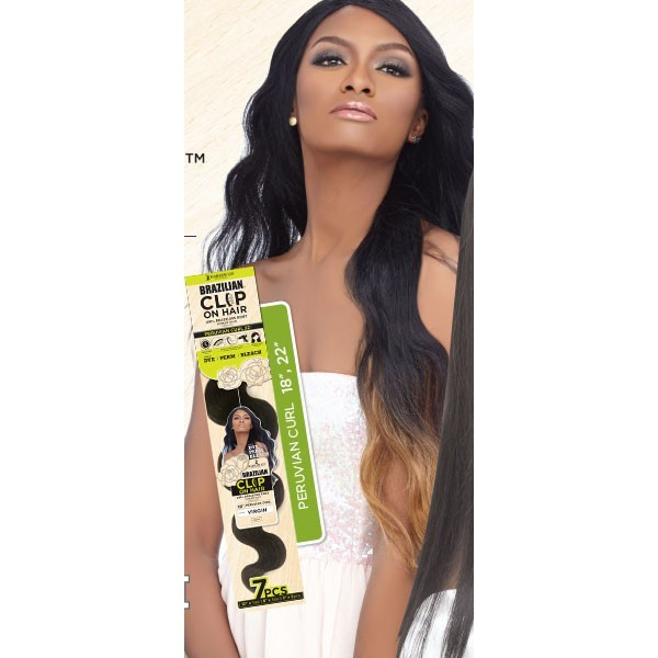 "HARLEM tissage extension à clips CLIP ON HAIR PERUVIAN CURL 18"" (Brazilian)"