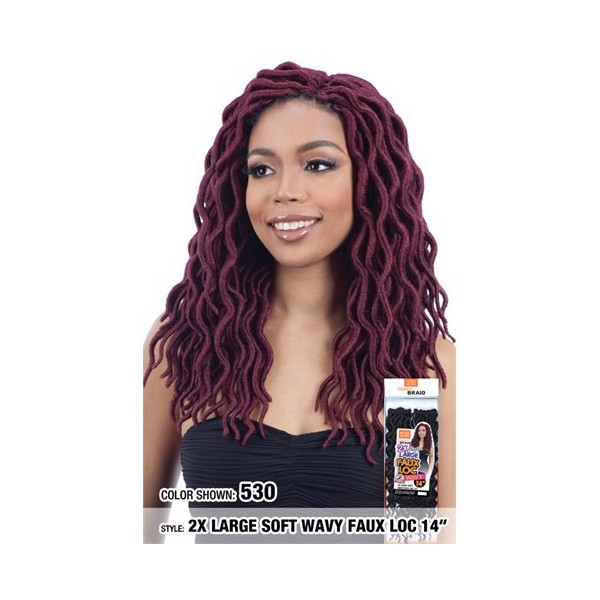 "MODEL MODEL natte 2x LARGE FAUX LOCS WAVY 14"" (Loop)"