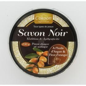 COKOON Savon noir à l'huile d'argan et fleur d'oranger 250g