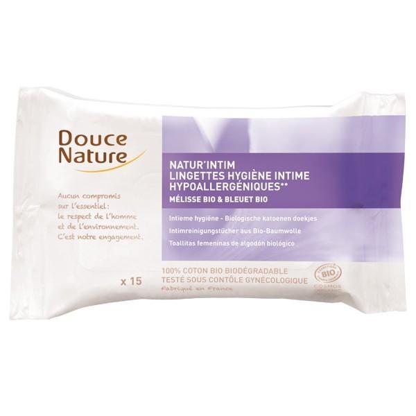 DOUCE NATURE Lingettes hygiène intime hypoallergéniques BIO x15
