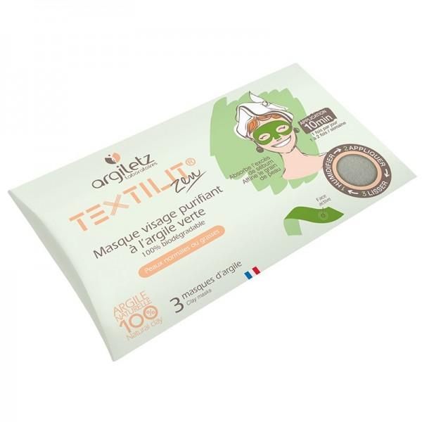 ARGILETZ Masque Visage Purifiant x3 ARGILE VERTE (Textilit Zen)