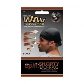 FIRSTLINE black short cap Durag SPIN SHORTY DO-RAG (Wav Enforcer)