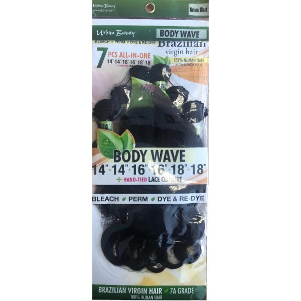 "URBAN BEAUTY tissage BRAZILIAN BODY WAVE 14/16/18"" 7PCS"