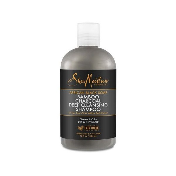 """SHEA MOISTURE Shampooing African Black Soap BAMBOU CHARBON 384ml """"Deep Cleansing"""""""