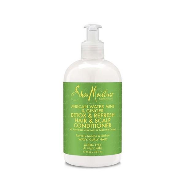 SHEA MOISTURE Conditionneur Menthe d'eau, Gingembre & Charbon 384ml (Detox & Refresh Hair & Scalp)
