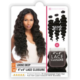 "SENSAS tissage LOOSE DEEP 14""16""18"" + Closure (Bare&Natural)"