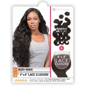 "SENSAS tissage BODY WAVE 18"" 20"" 22"" + Closure (Bare&Natural)"