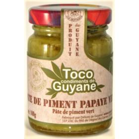 Délices de Guyane Chili pepper paste GREEN PAPAYE 100g TOCO