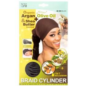 QFITT Bonnet cylindrique pour nattes Olive & Karité 808 BLACK