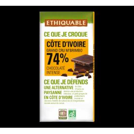 Chocolat noir grand cru Côte d'Ivoire 74% Bio 100g