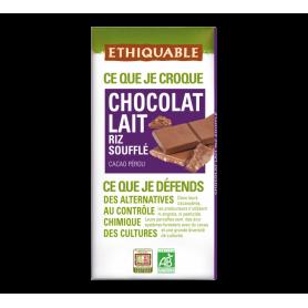 ETHIQUABLE Chocolat Lait aux riz soufflé Bio 100g