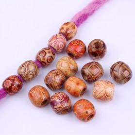 DREAMFIX Perles en bois à motif 24pcs