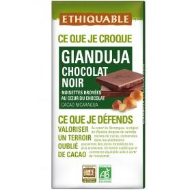 ETHIQUABLE Chocolat Noir intense Gianduja aux noisettes broyées Bio 100g