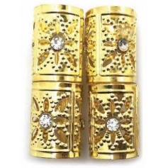 Bagues dorées pour nattes et locks JUMBO STONE