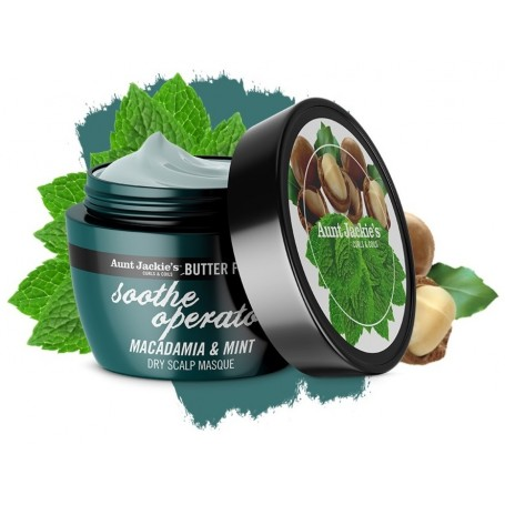 AUNT JACKIE'S Masque Réparateur cuir chevelu MACADAMIA & MENTHE 227g (Soothe Operator)