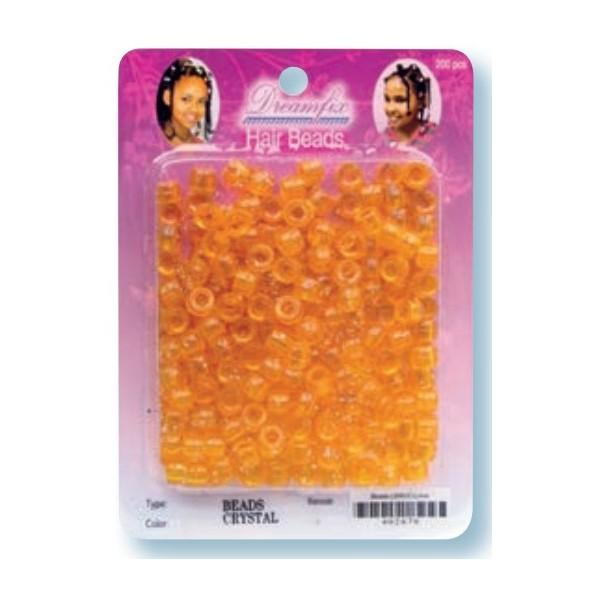 Perles plastiques orange cristal x 200