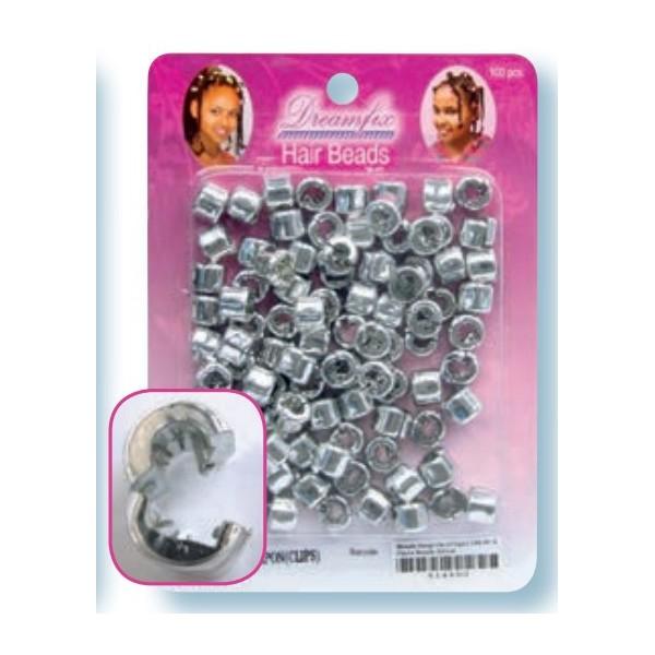 Perles plastique à clip argent x 200