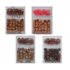Perles en bois avec élastiques x26