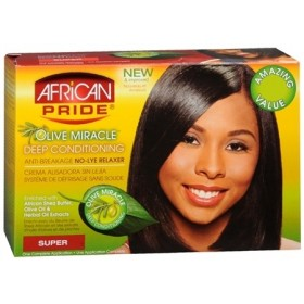 AFRICAN PRIDE Kit défrisant anti-casse Olive miracle (Super)