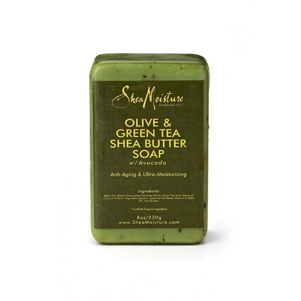 "Shea Moisture Savon Karité, Olive & Thé vert ""Anti-aging Soap"" 230g"