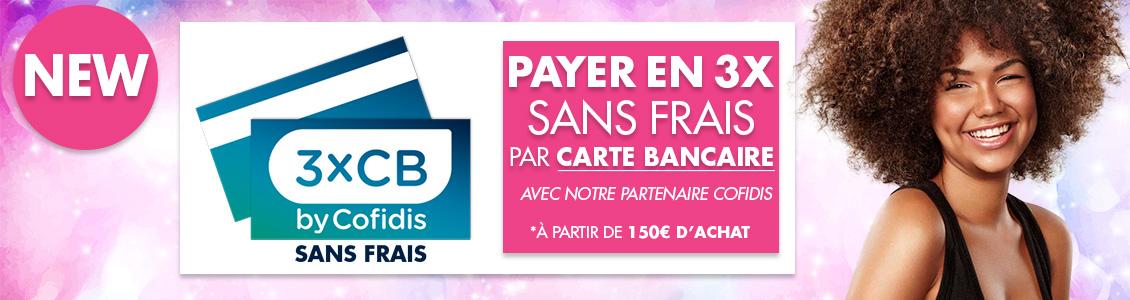 Visuel présentant le paiement par carte bancaire en TROIS FOIS SANS FRAIS