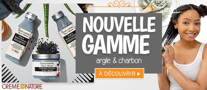 Nouvelle gamme ARGILE et CHARBON de la marque Creme Of Nature >>>