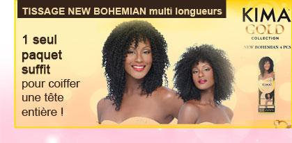 Tissage NEW BOHEMIAN multi longueurs 1 seul paquet suffit pour coiffer une tête entière